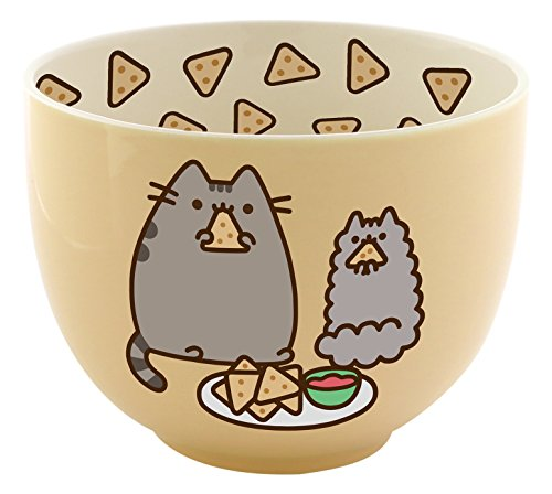 Pusheen by Our Name is Mud Stoneware Chips Snack Bowl, Yellow, 4