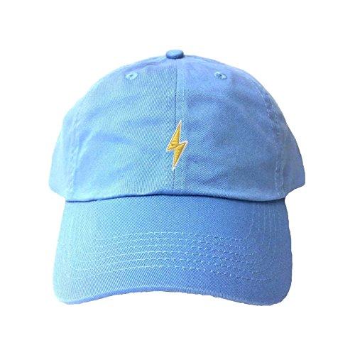 Adjustable Sky Blue Adult Lightning Bolt Embroidered Dad Hat