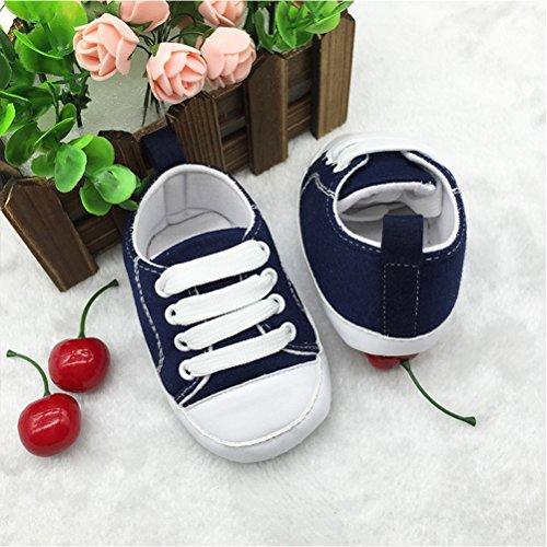 Zhhlinyuan Bebé Unisex Cute Toddler Shoes Canvas Cloth Soft Sole Anti-skid Sneaker Dark Blue