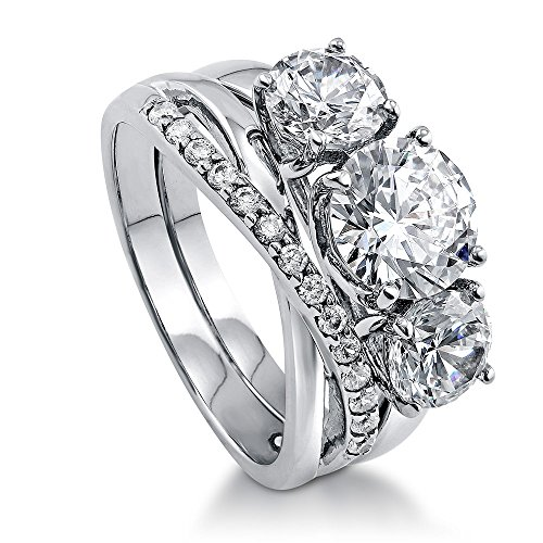 BERRICLE Rhodium Plated Silver Cubic Zirconia CZ 3-Stone Infinity Engagement Ring Set Size 10 - 3 Stone Bridal Set
