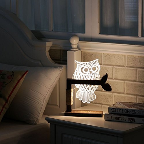 3D Owl LED Desk Table Lamp Adjustable Night Light Home Decor Xmas (Goldfish Lamp)