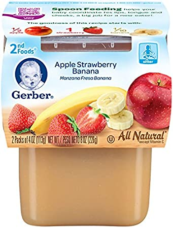 Gerber Purees 2nd Foods, Apple Strawberry Banana, 8 Ounce (Pack of 8)