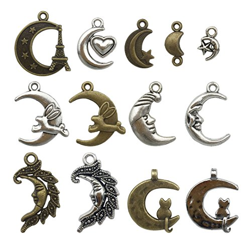 Youdiyla 100g Moon Charms Collection - Antique Silver Bronze Rabbit Cat Love Eiffel Tower Face Fancy Celestial Wholesale Crescent Moon Metal Pendants for Jewelry Making DIY Findings (HM10)