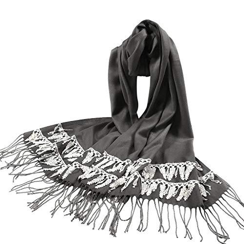 Women's Trendy Lace Tassel Scarf Winter Warm Soft Long Shawl -