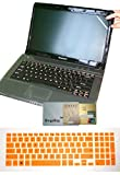 US Layout Keyboard Skin Cover +15.6 Screen Protector for Dell Inspiron 15-5575 15-3579 15-3565 15-5570 15-5566 15-5548 15-5565 15-5567 15-7559 15-7567 15-7577 15-7588 15-5558 15-5555 15-5559(orange)
