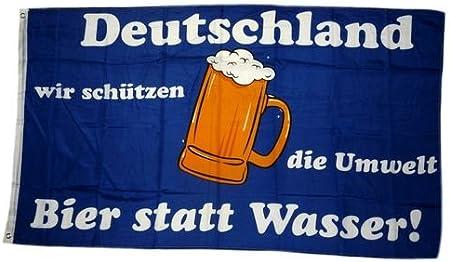 Deutschland wir schützen die Umwelt  Bier statt Wasser Flagge Fahne 150 x 90 cm