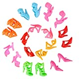 E-TING 10 Pairs High Heel Shoes Boots Fashion Mini Dolls Accessories Lot Random Style for Barbie Doll