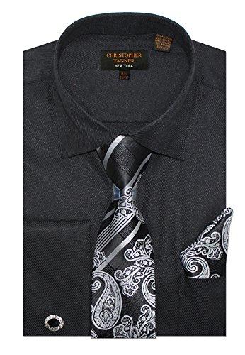 Christopher Tanner Men's Regular Fit Dress Shirts with Tie & Hankerchief Cufflinks Combo Twill Pattern 19.5
