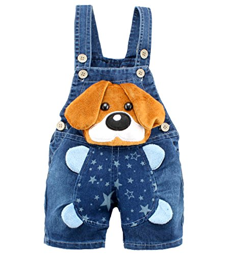 Kidscool Baby Boys/Girls Big Yellow Ears Cute Dog Summer Jeans Shortalls,12-18 Months,Blue