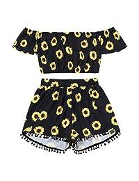 FitfulVan Clearry. ¡Venta Caliente! Blusa de Mujer, Hombro Descubierto, Diseño de Girasol, Camisetas de Correr + Borla Pantalones Cortos de Dos Piezas