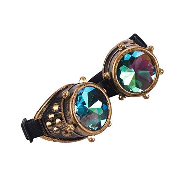 Careonline Festivals Kaleidoscope Gloth Vintage Rainbow Prism Sunglasses Steampunk Goggles Adjustable Bands 4