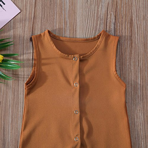 BiggerStore Infant Toddler Baby Girl Boy Sleeveless Romper Jumpsuit Shorts Summer Outfit Clothes (Orange, 0-6 Months)