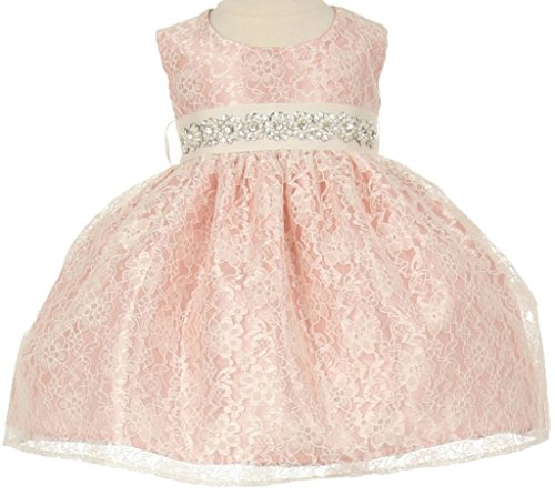 (Flower Girl Dress Overlay Lace with Rhinestone Belt for Baby & Infant Dusty Rose (Baby) XL 11.32BT)