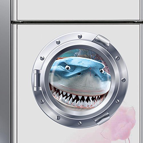 Best Choise Product Ocean View Underwater Shark Window Refrigerator Wall Sticker s for Kids Rooms sea Portal Peel Kids Wall Art ()