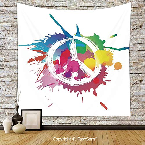 FashSam Tapestry Wall Hanging Famous Widely Used Peace Logo with Colorful Splash Grunge Style Anti war Pacifism Theme Tapestries Dorm Living Room Bedroom(W59xL90)