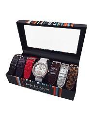 Womens Watch Set Seven Interchangeable Faux Leather Straps Silvertone Dial Designer Jade LeBaum JB202752G