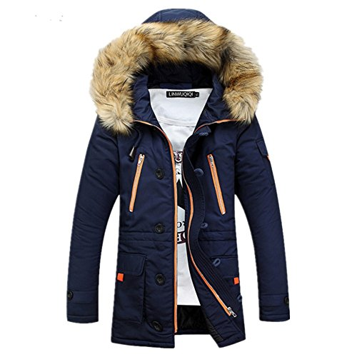 Newbestyle Men Winter Faux Fur Hooded Cotton Padded Parka Outerwear and Coats Blue Large by Newbestyle