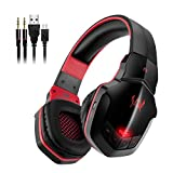 Wireless Gaming Headset for PC, V4.1 Bluetooth Over-ear Headphones with Microphones, Noise Cancelling for Computer Laptop Phone