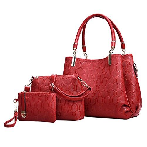 2 Bag Bag Design Shoulder Tote Donna Elegante 3 Anguang Pezzi Handbag Rosso Da Cerniera qI0OxzUw