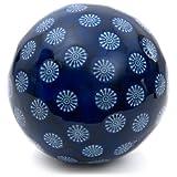 ORIENTAL FURNITURE 6'' Decorative Porcelain Ball - Blue w/White Stars