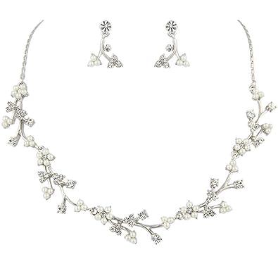 EVER FAITH® Austrian Crystal Simulated Pearl Jewellery Set Clear XJat9b