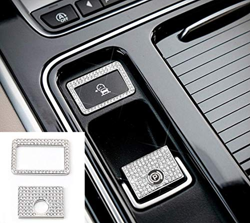 HAILWH Bling Fitting for Jaguar F-PACE Car Modification Decoration Fashion Trend Rhinestone Crystal Applique Cover Wreath Accessories (Electronic Parking and Traffic Buttons)