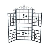 71'' Iron Patio Screen Plant Holder Trellis with Built-in Shelves in Grey