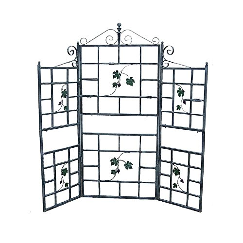71'' Iron Patio Screen Plant Holder Trellis with Built-in Shelves in Grey by Oakland Living