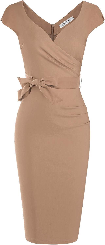 MUXXN Women's Vintage 1950s Style Wrap V Neck Tie Waist Formal Cocktail Dress