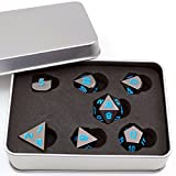 Shiny Black Painted and Blue numbers, Polyhedral Metal Dice with Metal Case, Set of 7 for RPG D&D Math Teaching