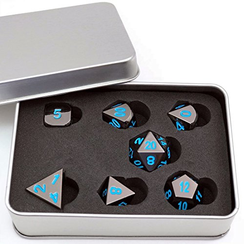IvyFieldDice Shiny Black Painted and Blue Numbers, Polyhedral Metal Dice with Metal Case, Set of 7 for RPG D&D Math - Dice Damage