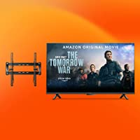 """Amazon Fire TV 55"""" Omni Series 4K UHD smart TV bundle with Universal Tilting Wall Mount and Red Remote Cover"""