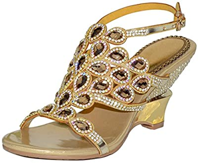 LizForm Women Rhinestone Evening Sandals Cutout Wedding Sandal Slingback Heeled Shoes