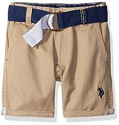 U.S. Polo Assn. Big Boys Belted Roll-Up Hem Twill Short, Dark Khaki, 10