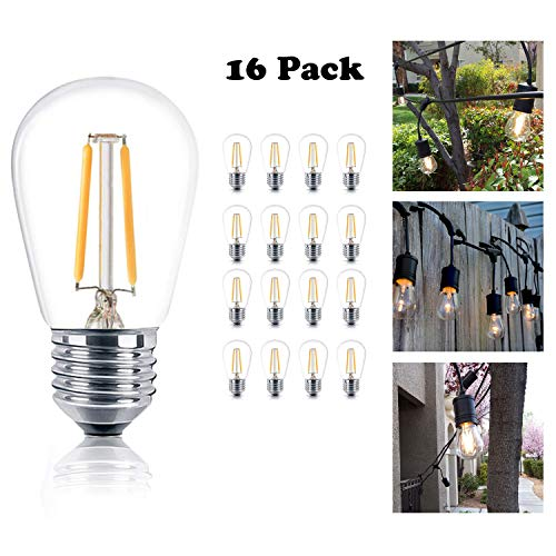 (Reo-Lite Vintage S14 Edison LED Light Bulbs, 1W 100 Lumens, E26 Base, 2400K Warm White Weatherproof Waterproof Commercial Grade Bulb, Great for Outdoor String Lights, 16 Pack )