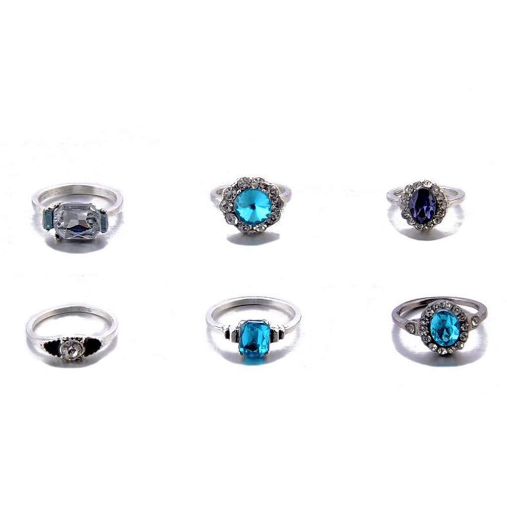 Elegant Temperament Ring Blue Gemstones Flower Knuckles Ladies Jewelry 11PC Euone Ring