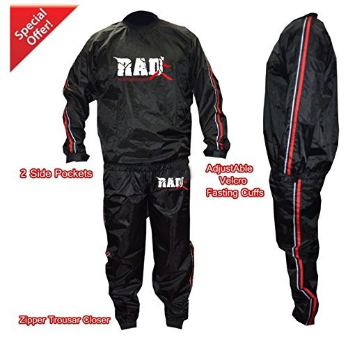 RAD Heavy Duty Sweat Suit Sauna Exercise Gym Suit Fitness Weight Loss Anti-Rip Red (4XL)