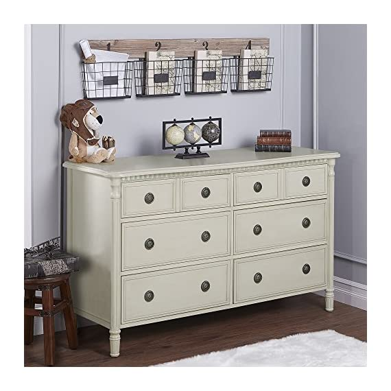Evolur Julienne 6 Double Dresser Cloud - Dresser features six generous drawers, suited for all your storage needs. All the drawers feature Dovetail joints and five-piece drawer box construction. The drawers feature quality side-mounted 3 tier glides and antique drawer pulls which provide durability over the years. - dressers-bedroom-furniture, bedroom-furniture, bedroom - 51mPf8AaFJL. SS570  -