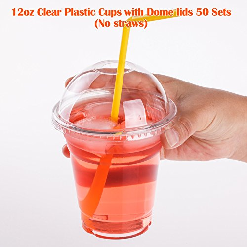 GOLDEN APPLE, 12 Oz. Clear Plastic Cups with Dome lids (50 Sets) (Clear Plastic Dome)