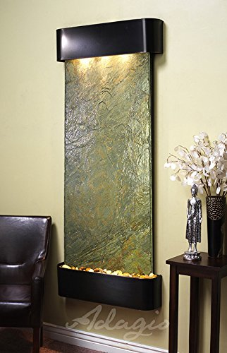 Adagio Inspiration Falls Wall Fountain Rainforest Brown Marble Stainless Steel -