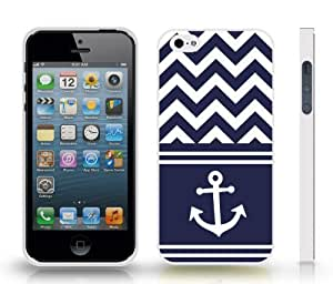 Chevron Zig Zag Navy Blue/ White Stripe White Anchor Sailor Life Snap-on Cover Hard Carrying Case for iPhone 5/5S (White)