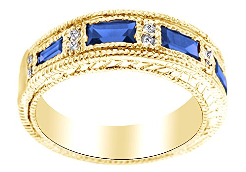 Emerald Shape Simulated Blue Sapphire Eternity Band Ring In 14K Yellow Gold Over Sterling Silver, Ring Size: 8 (Emerald Shape Ring Setting)