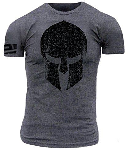 Distressed Spartan Warrior Premium Athletic Fit Dark Charcoal T Shirt