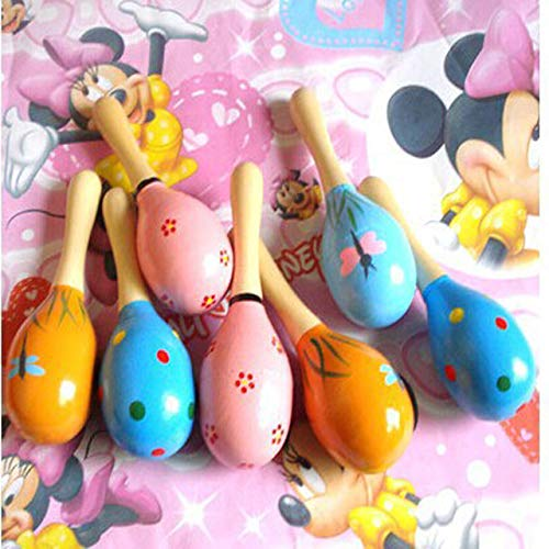 XuBa 20pcs/lot Kid Rattle Wooden Toys Fashion 12cm Wooden Maracas Baby Toy Wholesale Show -