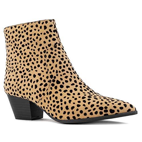 Leopard Bootie - Women's Western Pointy Toe Low Chunky Heel Back Zip Slim Fit Ankle Booties TAN Black Leopard Size.9