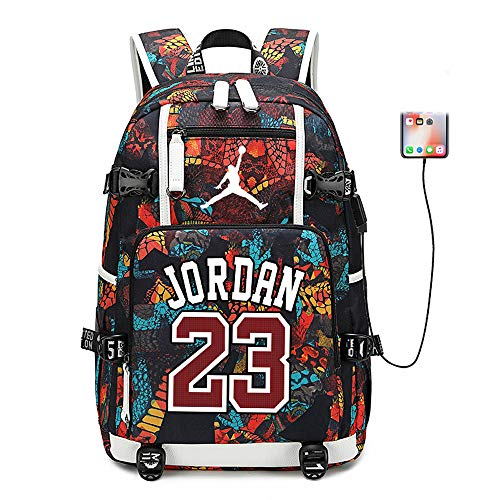 Basketball Player Star Jordan Multifunction Backpack Travel Student Backpack Fans Bookbag for Men Women (Style 6)