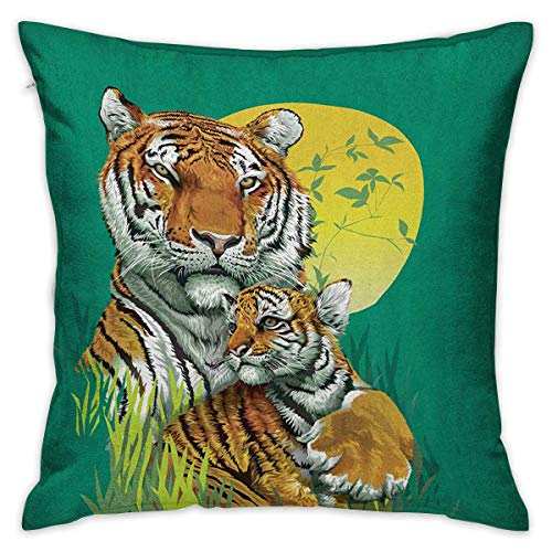 Safari Square Slip Pillowcase Tiger Family in The Jungle Full Moonlight Night Grass Abstract Jade Green Apricot Pale Green Cushion Cases Pillowcases for Sofa Bedroom Car W17.7 x ()