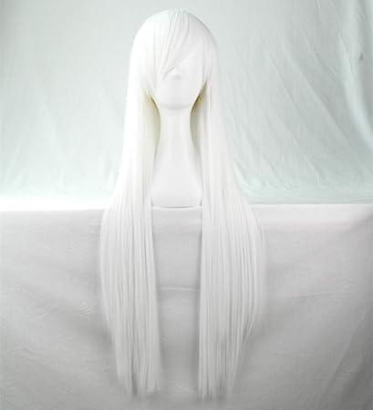 Chiguo 80cm/ 32 Peluca de Las Mujeres Pelo Largo Recta De Las Mujeres Cabello Peluca Cabello para Adultos Cosplay Disfraz Fiesta de Halloween Peluca ...