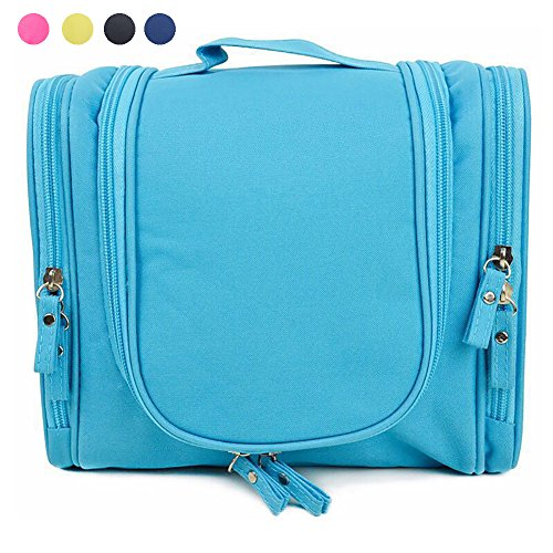Hanging Toiletry Bag Multifunction Cosmetic Bag for Women Girls Portable Travel Waterproof Cosmetic Make up Bag case for Women Men with Sturdy Hook Heavy Duty (Blue)