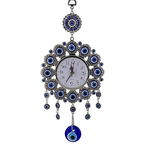 Crystal Florida Evil Eye Clock for Your Office or Home Wall, 14 Inches ()